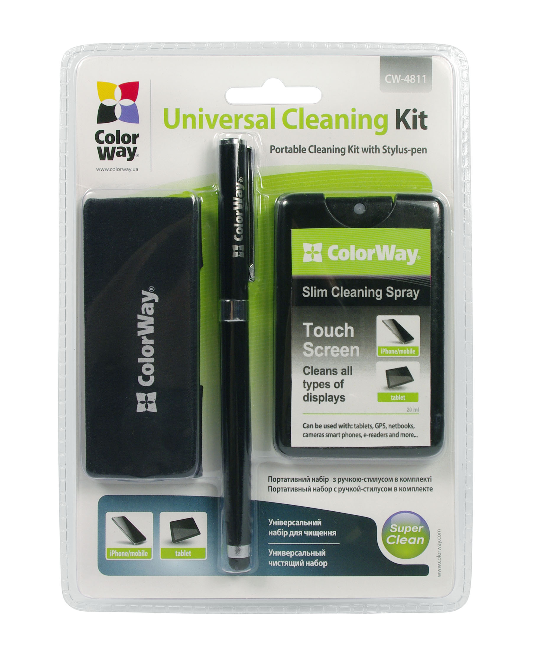 ColorWay CW-4811 Portable Cleaning Kit for mobile devices (Spray + Stylus Pen)