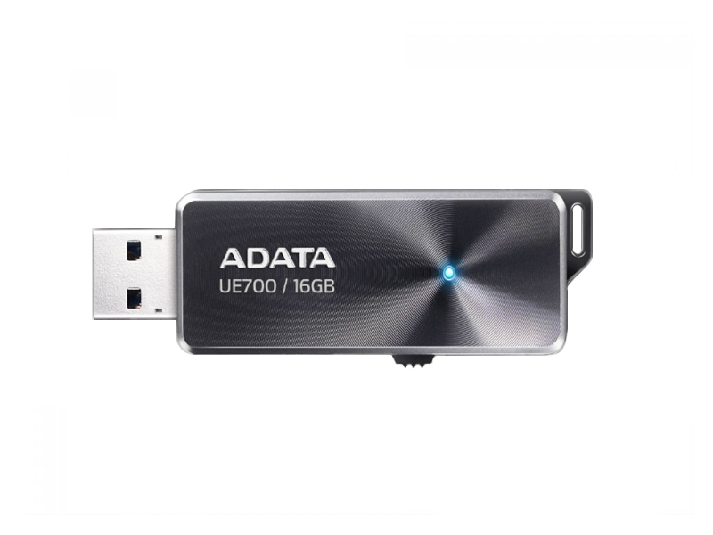 16Gb USB3.0 Flash Drive ADATA, DashDrive Elite UE700, black  (Read-155MB/s, Write-25MB/s), Retractable USB