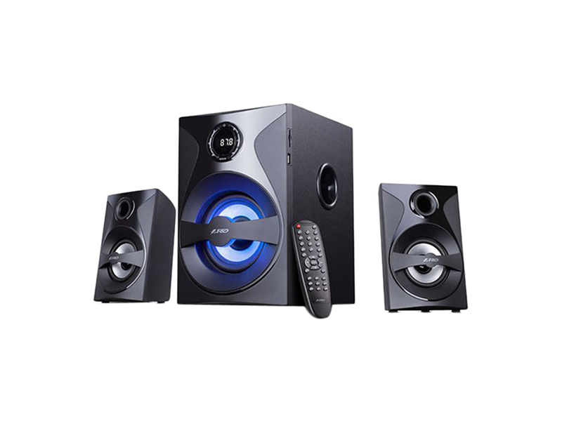F&D F380X Black, 2x13W (3'), 28W subwoofer (5.25'), RMS 54W, 70dB, BT 4.0, NFC, USB/SD card port, FM, Multicolor LED-light, LED-screen, Remote Control