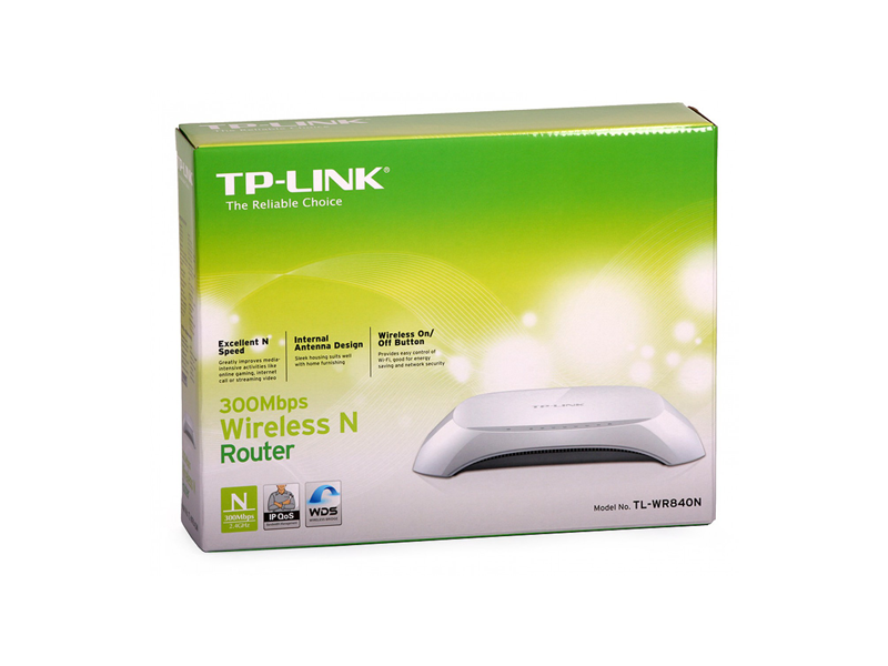 TP-Link TL-WR840N, Wireless Router 4-port 10/100Mbit, 300Mbps, 2xInternal Antena