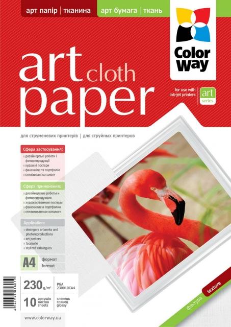 ColorWay Art Cloth GlossyFinne Photo Paper A4, 230g, 10pcs
