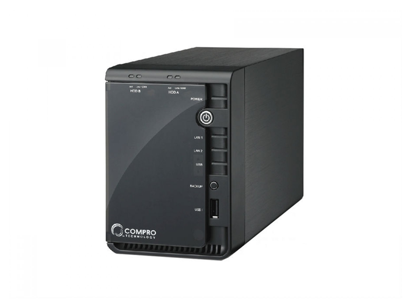 """COMPRO RS-2208, NVR, 2-bay/8-channel, Support 2x3.5"""" HDD SATA 3.0Gbs up to 3Tb, Support RAID-0/1, Record video from up to 8Mpixel IP cameras simultane"""