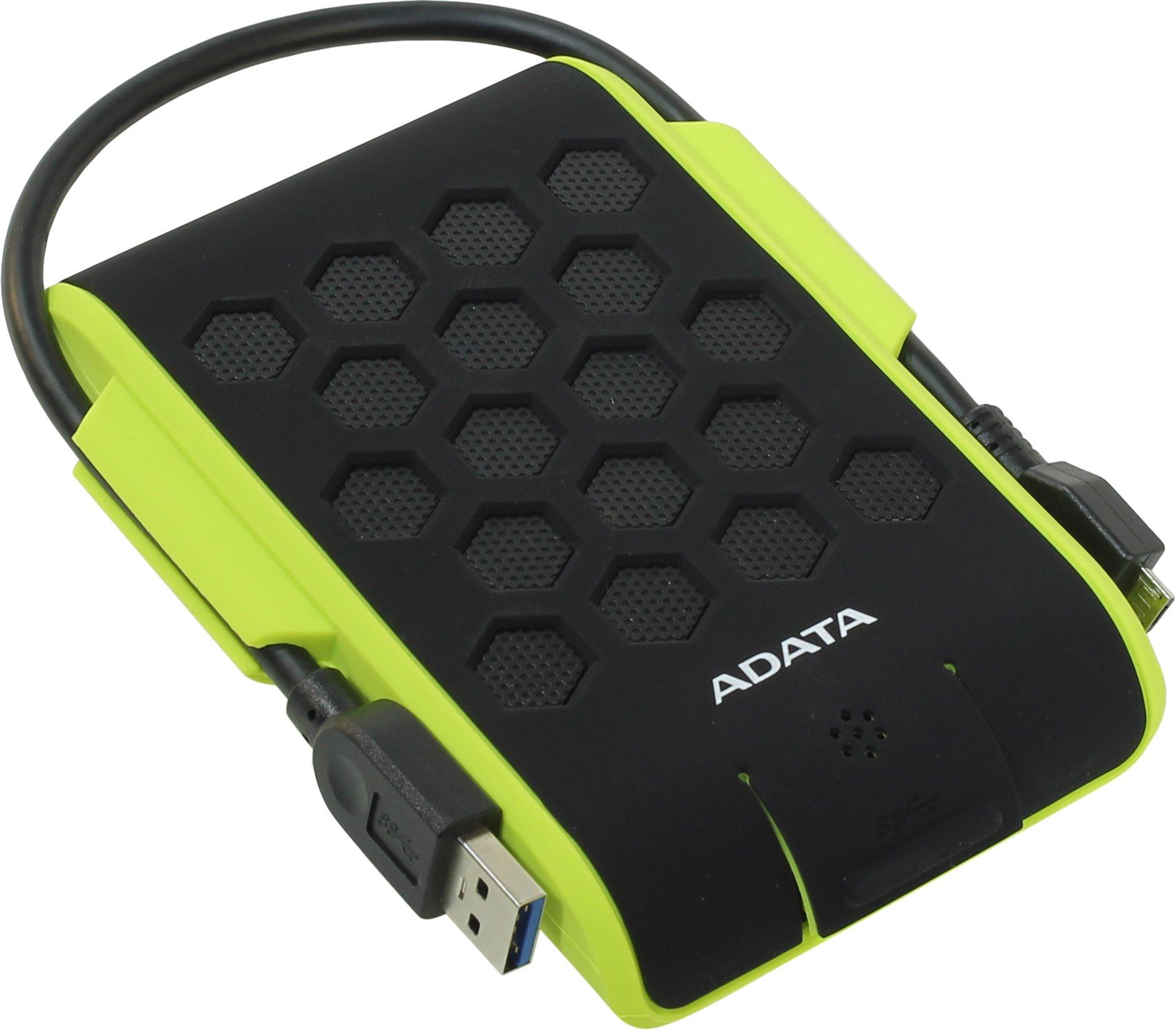 "HDD 2000Gb 2.5"", USB3.0, ADATA DashDrive Durable HD720, Rubber Green, IP68 Waterand Dust Resistant/Shock-Resistant(Military MIL-STD-810G 516.5 drop te 1"