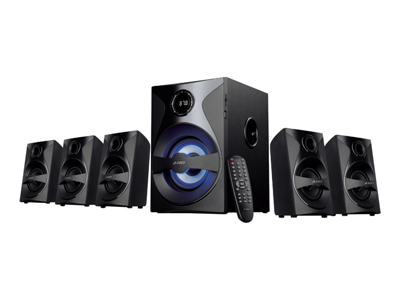 F&D F3800X 5.1 Black, 5x10W(3'), 1x30W(5.25') subwoofer, RMS 80W, 40~125Hz/120Hz~20kHz, 70dB, BT4.0, USB/SD, FM, AUX, Multicolor LED-light, Remote