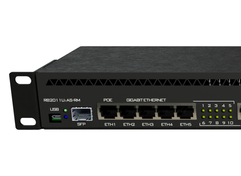 MikroTik Routerboard RB2011UiAS-RM, 1U rackmount, 5xEthernet, 5xGigabit Ethernet, 1x SFP USB, LCD, PoE out on port 10, 600MHz CPU, 128MB RAM, RouterOS