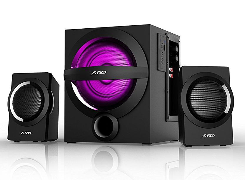 F&D A140X Black, 2x12W (3'), 13W subwoofer (4'), RMS 37W, 65dB, BT 4.0, USB (MP3/WMA) reader, Digital FM, Multi-Color Decorative LED, Remote Control 2