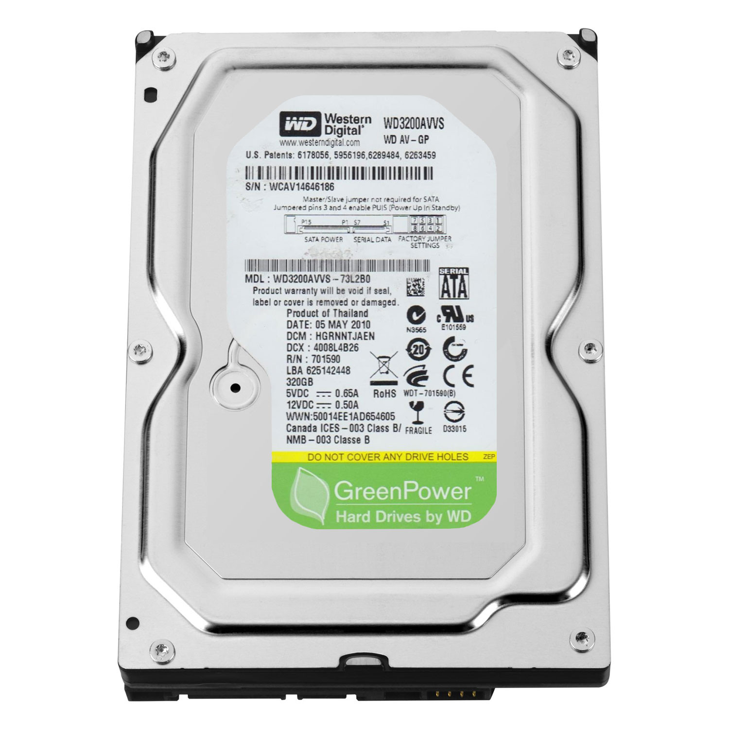 320Gb WD3200AVVS AV-GP SATA-II IntelliPower, 300MB/sec, 8MB cache