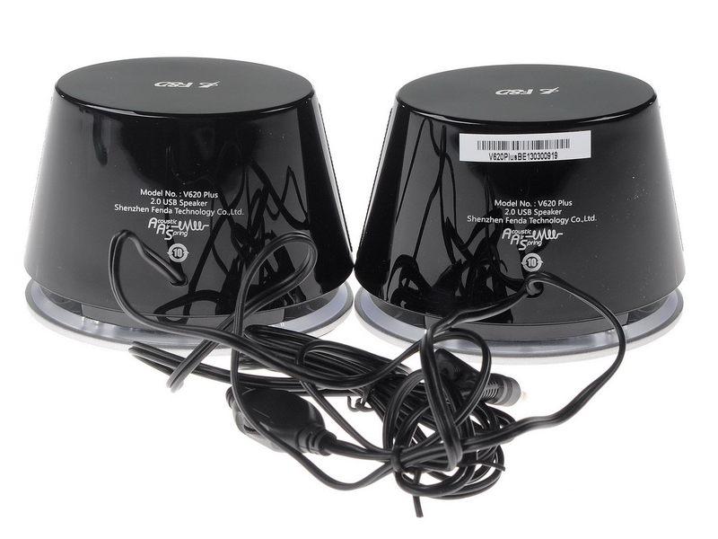 "F&D V620 (Silver, 2x1.2W RMS(1.5""), 30-20kHz, 65dB, BlueLighting, USB-Power) 1"