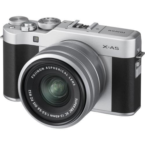 Fujifilm X-A5 Silver/XC15-45mm kit, 24.2 mpx, APS-C CMOS, WiFi, 3.0 LCD Touch screen 1040K 180° Flip Display