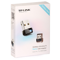 TP-Link TL-WN725N, Wireless LAN, 150Mbps, Nano Size, USB