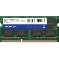 Adata 4Gb SODIMM DDR3 PC12800, 1600MHz, 204pin, CL11