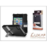 LUXA2 PH4 LHA0015 MetallicStand Case for iPhone4, PU Leather, Metallic Stand, Black