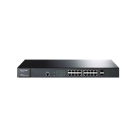 TP-Link TL-SG3216, ManagedSwitch 16-ports 10/100/1000Mbit, 2 combo SFP slots, Port/Tag/MAC/Voice/Protocol-based VLAN, GVRP, STP/RSTP/MSTP, IGMP V1/V2/