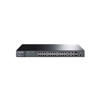 TP-Link TL-SL3428, ManagedSwitch 24+4G Gigabit-Uplink, 24-ports 10/100Mbit, 2-ports 10/100/1000Mbit, 2 SFP expansion slots supporting MiniGBIC modules