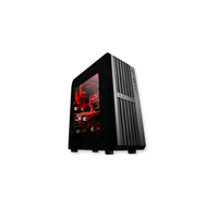 Rindja Gamer ATX, Acrylic windows Side, w/o PSU, support coolers: 1* 120mm cooling fan spaces/3* 120mm RED LED fan included, AC97&2xUSB3.0, Black