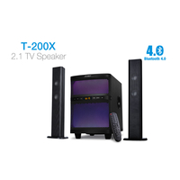 "F&D T-200X (Black, 2x17.5W RMS (2""), 35W subwoofer 8"", 30Hz-20kHz, 75dB, USB, FM, LCD, Bluetooth, Remote Control, Multicolor LED Theme)"