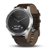 vivomove HR Premium Silver Tone with Dark Brown Leather Band (Large)