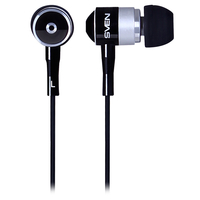 SVEN SEB 10 BK, Earphones, 50-18000Hz, 32ohm, 109dB, 3-size ear pads, 1.1m, Black