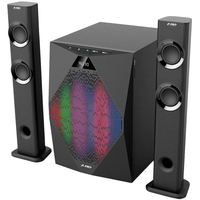 "F&D T-300X (Black), RMS 70W, 2x17.5W(2"")135Hz~20KHz, 35W subwoofer(8"")30-104Hz, S/N ratio:70dB, USB,FM,LCD,BT4.0,Remote,Multi-ColorDJ-LED,Microphone"